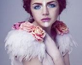 Sale Rose and feather shoulder pieces, floral feather wings, white wings, white swan, rose shoulder pieces