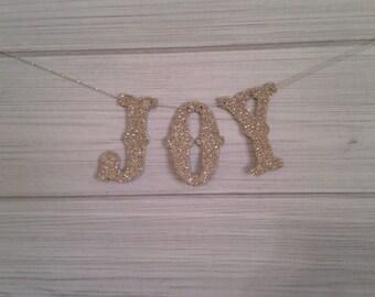 Joy Banner Garland Christmas Handmade Decoration Handmade Silver German Glass Glitter Holidays