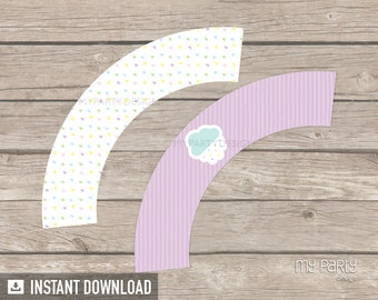 Cloud Baby Shower Cupcake Wrappers - Baby Sprinkle - Gender Neutral - INSTANT DOWNLOAD - Printable PDF