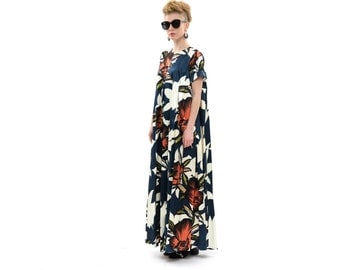 African Maxi Dress, Long Evening Dress with short Sleeves and Pockets, Trendy Cocktail Dress