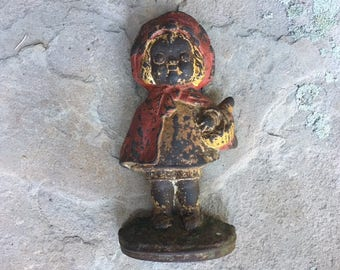 Hubley Little Red Riding Hood Door Stop  Cast Iron