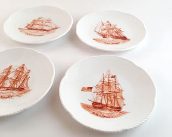 Spode of England Set of 6 Bone China Red Ships Boat Motif Butter Plates, Trade Winds Series
