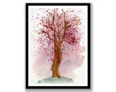 Abstract Cherry Tree watercolor painting, original watercolour painting, hand made, can be mounted and made wall ready