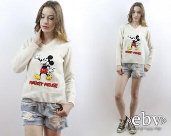 Vintage Disney suéter suéter Vintage de Mickey Mouse Mickey blanco suéter 70s Jersey de 1970 suéter Vintage años 70 Mickey suéter XS S