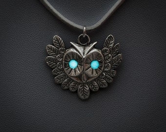Blue Glowing Owl necklace - animal necklace, glow in the dark, aqua pendant, whimsical, magical, owl jewellery