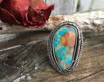 Turquoise Ring Size 7 Cumpas Mine Turquoise - Turquoise Jewelry Boho Native inspired