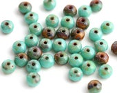 3x5mm Rustic Turquoise green Brown Czech Glass beads spacers, Picasso faceted rondels, rondelle beads - 40Pc - 1842