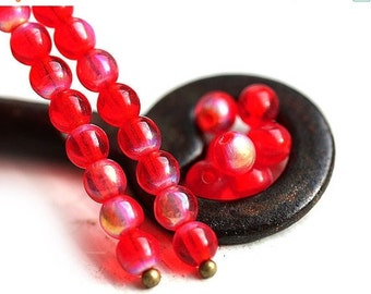 ON SALE Round czech beads, Scarlet Red with luster, glass spacers, druk - 4mm - approx.80Pc - 1303