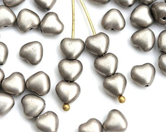 6mm Light bronze Heart beads, Metallic light yellow coated Czech Glass pressed beads - 50pc - 2741