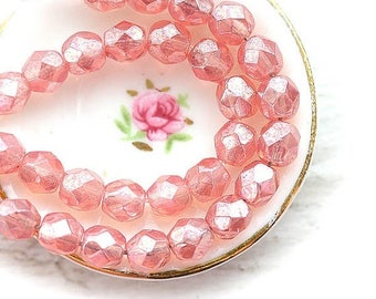 30%OFF SALE 4mm Pink czech glass beads, Lustrious Milky Pink, Fire polished beads - 50Pc - SP60