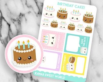 Kawaii Birthday Cake | Planner Sticker Sheet