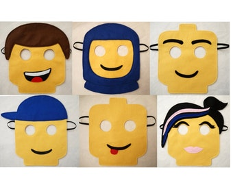 20 Lego inspired masks birthday Party bag filler favor Lego movie Emmet Wyldstyle and other Character masks Lego spacemen mask