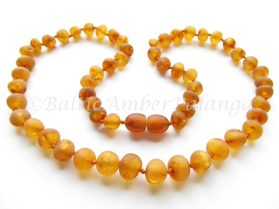Raw Unpolished Baltic Amber Necklace Rounded Cognac Color Beads. For Adults