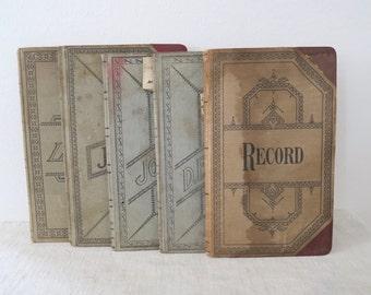 Antique Farmer's Handwritten Hardcover Journal Record Ledger Collection Set of 5