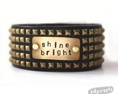leather cuff bracelet - shine bright- stamped and studded gold studded brown leather cuff