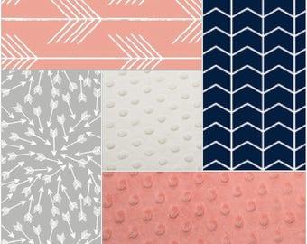 Arrow Patchwork Blanket- Coral Arrow, Gray Random Arrow, Navy Broken Chevron, Coral Minky, and Navy Minky Patchwork Baby Blanket