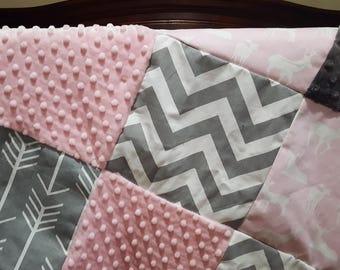 Deer Baby Blanket - Light Pink Deer, Gray Chevron, Gray Arrow, Blush Minky, and Gray Minky Patchwork Baby Blanket