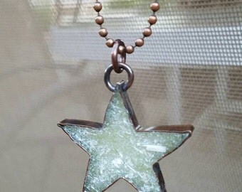 Selentie Necklace, Star Necklace, Selenite Jewelry, Copper star necklace, Custom copper jewerly, one of a kind, gemstone jewelry