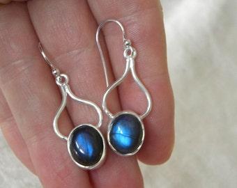 """Labradorite Earrings Handmade Earrings Semiprecious Gemstone 1 1/2"""" Sterling Silver Earrings Take 20% Off Blue Labradorite Jewelry Earrings"""