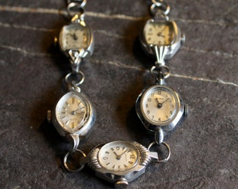 Watch of Vintage Watches, vintage, steampunk, antique, assemblage, bracelet, jewelry, timepiece, repurposed recycled