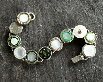 Antique Cufflink Bracelet, greens and silver vintage bracelet mens jewelry celluloid mother of pearl cuff links snap tite tight Krementz