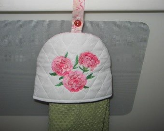 Towel Topper Carnation Embroidered