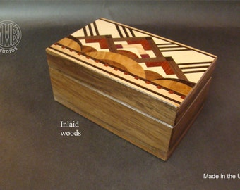 Art Deco wood jewelry/keepsake box with inlaid top  JB-3