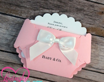 Diaper Shape Invitations - Set of 10 - Baby Pink and White - Baby & Company - Girl Baby Shower Invites