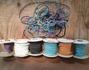 """Leather Lacings, TEJA brand (multiple spools: opened, not sealed, some use), sold """"as is"""" as DESTASH LOT, Destash supplies, w/free shipping!"""