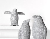 Silver Penguins Wedding Cake Topper Christmas Decoration in Winter Glitter for Entertaining Table Settings, Nursery Decor or Home Decoration
