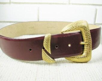 1980's Ellen Tracy Buffalo hide Cordovan wide belt size M