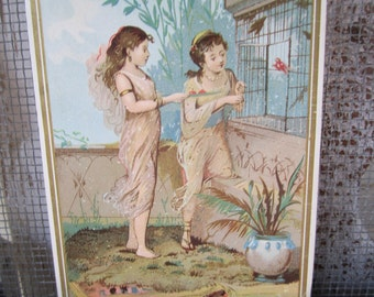 Vintage Postcard Young Girls with birds Orient Victorian Vintage Graphics