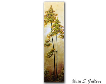 """Original Tree Painting Abstract Art on Canvas Palette Knife Modern Vertical Artwork Home Office Decor 32"""" Ready to ship  by Nata S."""