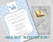 Blue & White Polka Dot Baby Boy Shower Invitations with Baby Buggy, Carriage - Custom Cute Printed Baby Shower Invitations for a Boy