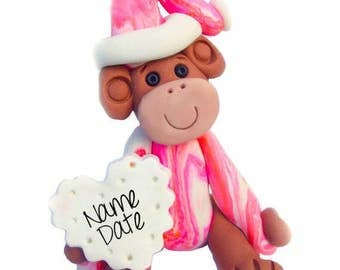 Polymer clay Christmas Ornament, clay monkey, monkey keepsake ornament,  pink monkey ornament keepsake for girl