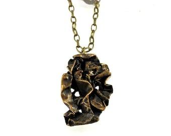 Ready for ship. Original bronze pendant. Unique necklace.