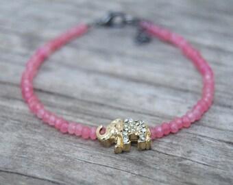 Delicate Pink Stone Minimalist Bracelet, Elephant, Thin Dainty Jewelry, Skinny Bracelet,