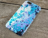 Frosted Petals Purple & Blue iPhone Case - Navy, Lilac, Turquoise and White iPhone Case for iP4, iP5/S/SE, iP5C, iP6/S, iP6+/S, iPod Touch 5