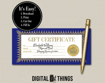 Faux Gold Foil Printable Gift Certificate Coupon Holiday Hanukkah Birthday Last Minute Gift PDF Digital Instant Download DT1922