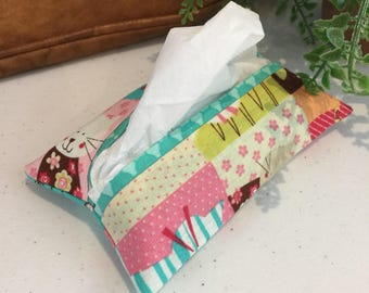 Pocket Kleenex Tissue Holder Cats Kitties Pink Teal Floral Fabric Lined