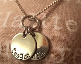 2 tag name necklace with extra link