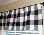 """Premier Prints Anderson Black and White Plaid Buffalo Check Valance 50"""" wide x 16"""" long Lined Or Unlined"""