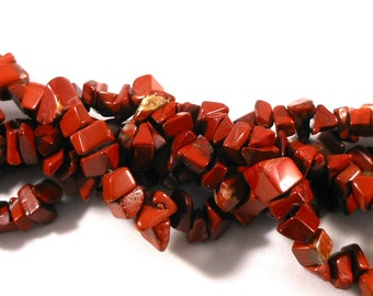 Chunky Rainbow Brecciated Jasper Stone Chip Beads, Stone Beads, Rusty Brown Red, Crafting Beads for Jewelry Making Supply, Full Strand