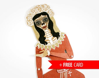 Santa Muerte Dia de los Muertos articulated paper doll handmade greeting card sugar skull puppet whimsical gift day of the dead present