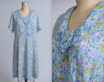 1950s Blue Wildflower Day Dress Half Button Down House Dress