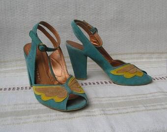 Vintage 90s suede leather sandals, size 40 (EUR), 9 (US)