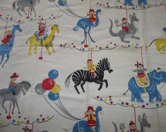 "Vintage Barkcloth ...Nursery Pattern...Circus Animals..3/4 yd. by 36"".. New Old Stock...Free Shipping"