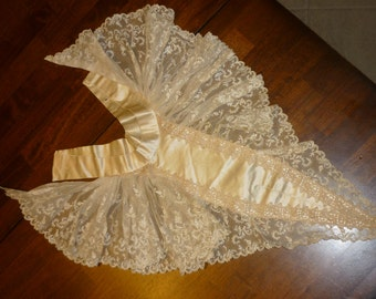"EXTRAORDINARY Antique French  Hand Made Lace Collar..Jabot..Net Lace 18"" Wide by 16"" long..Ivory Satin"