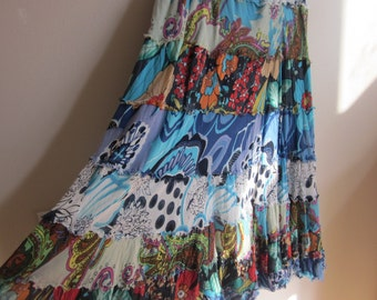 Vintage maxi skirt boho chic tiered prairie full sweep ragged M L