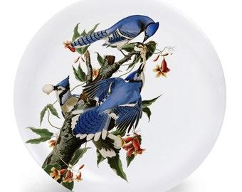 "Blue Jay Bird Plate, Melamine Plate, Vintage Bird Illustration, Kitchen, decorative plate, gift, Dinner Plate, 10"" plate,"
